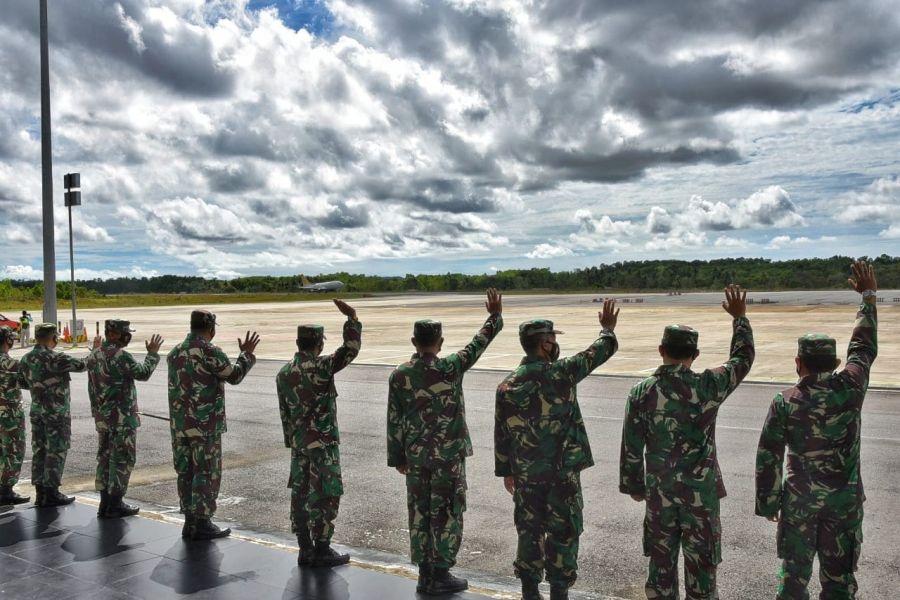 Danlanud RHF Sambut Kunjungan Pangkogabwilhan I, Pangkoopsau I dan Kas Koarmada I di Tanjungpinang